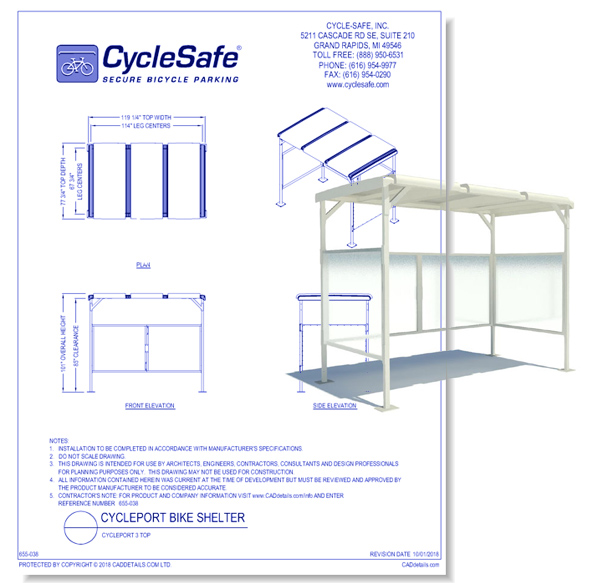 CyclePort 3 Top Bike Shelter