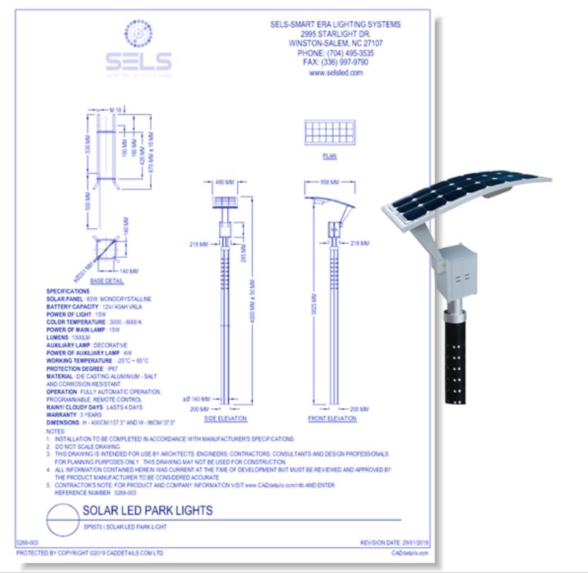 SP9570 | Solar LED Park Light