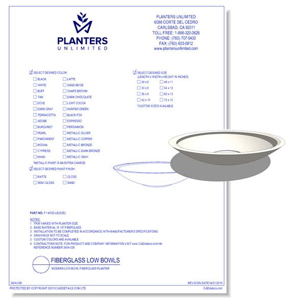 Modern Low Bowl Fiberglass Planter