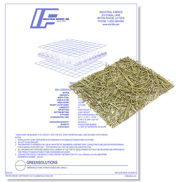 Green Solutions Blankets - Double Net Straw