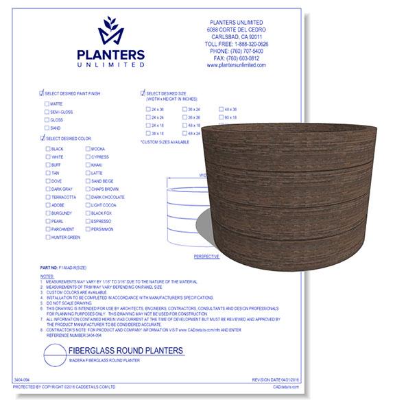 Madera Fiberglass Round Planter