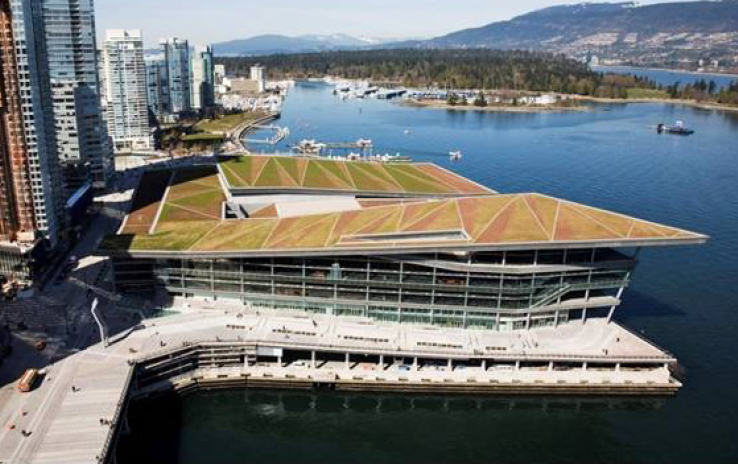 The completed convention centre with concrete that is hardened for the full depth.