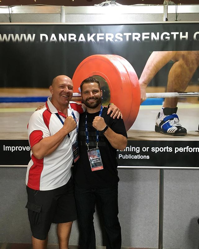 Dr Daniel Baker with  @coach_brettb in front of the DanBakerStrength product booth at the #asca_conf in Melbourne Annual 2016 International Conference 🏋🏽♀️