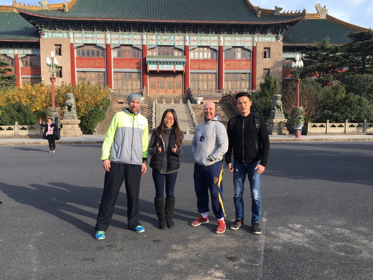 With Dave Sutton, a British S & C Coach working in Shanghai, the beautiful and talented Milo Lee, myself and Zac Bo from Beijing Yanding Co. in front of the old Municipal Administration Building of Shanghai, now located within the Shanghai University of Sport campus.