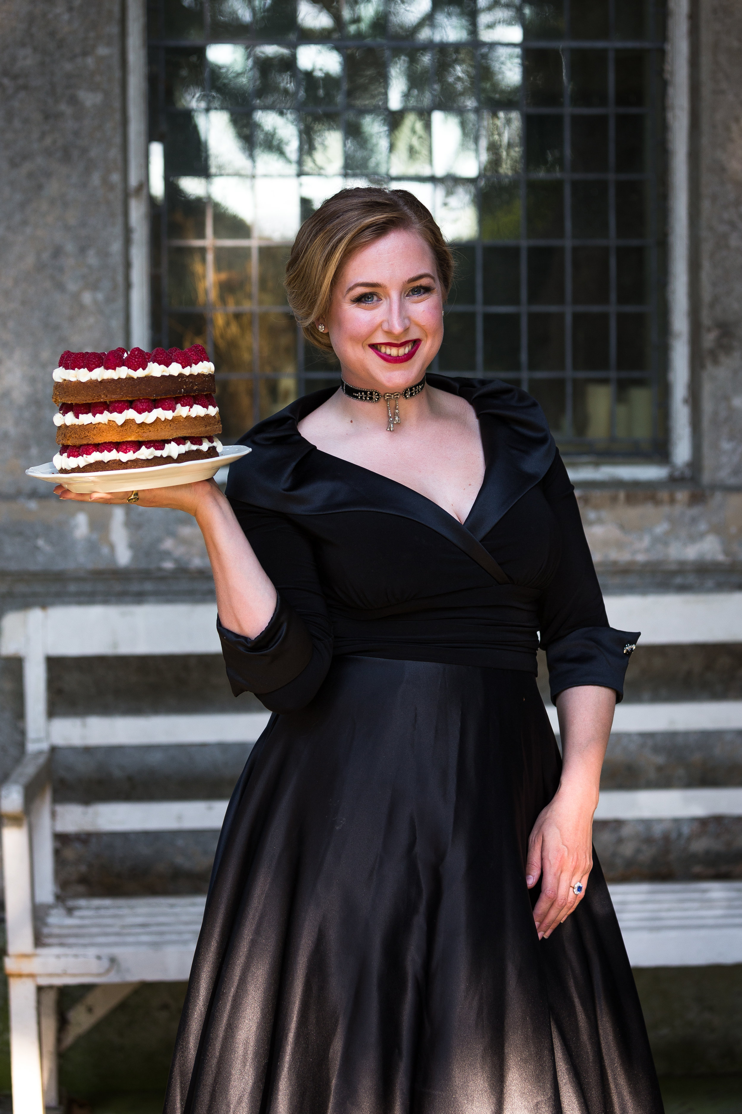 Zuleika with one of her cakes on her photoshoot for Country Life magazine 2016