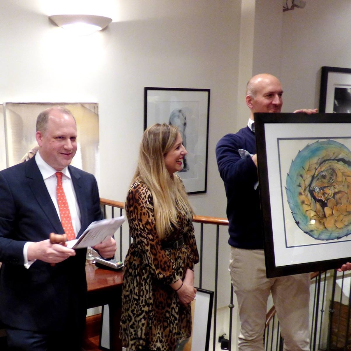 At a charity auction with Sotheby's Richard Fattorini, raising funds for pangolins, at Patrick Mavros