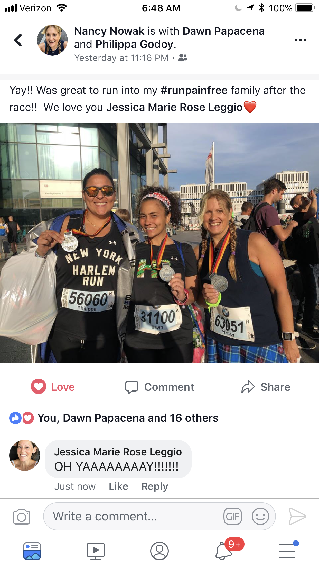 Nancy was 1 of 10 #RunPainFree runners who ran and finished the Berlin Marathon 2018. Here with Ambassadors Philippa and Dawn!