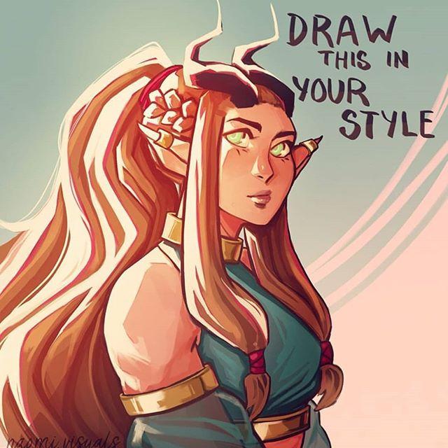 Loved @naomi.visuals 's half dragon character design already so I couldn't resist her #drawthisinyourstyle (+ bonus piece - she was just so fun to draw!) Congrats on 4k Naomi! . . . #naomivisuals4k #characterdesign #yvrartist #drawthisinyourstylechallenge