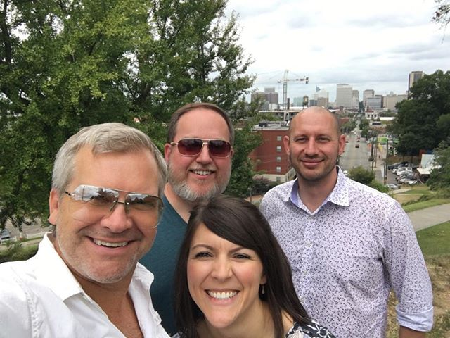 In Richmond with Aaron, my niece Olivia, her beau, Matt, and Richmond skyline in the background.  Richmond is old school and gorgeous! Wonderful! #richmond #niece #richmondskyline #skyline @oliviabhodges
