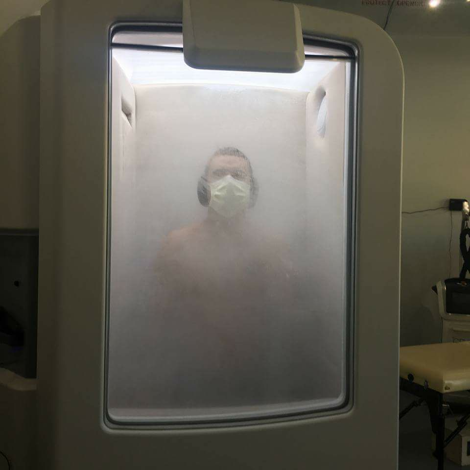 Wesley Golden  enjoying the benefits of Chill Cryotherapy in downtown Pensacola.