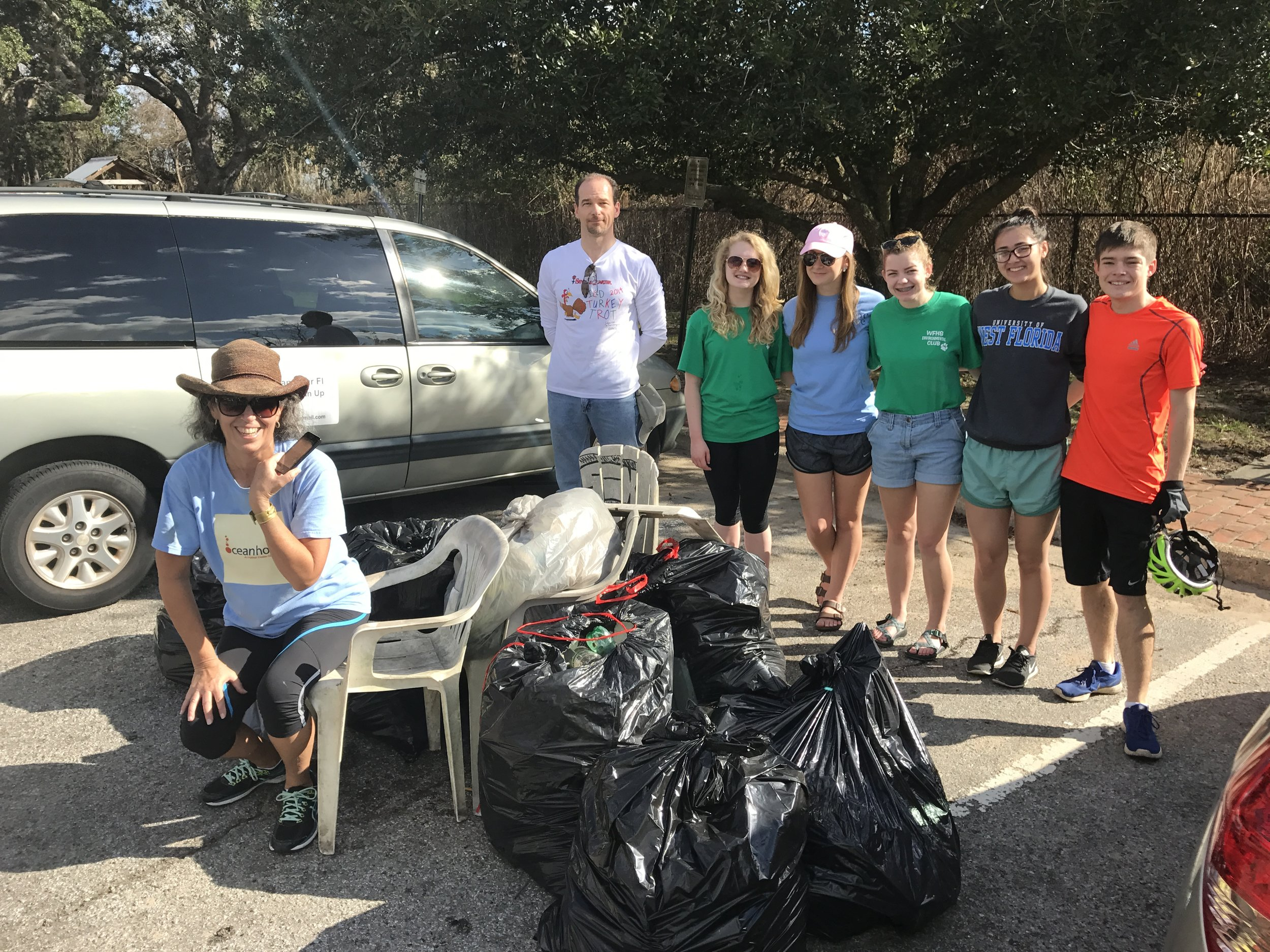 What a difference a week makes - shorts on a beautiful day for 33 volunteers to pick up 296 lbs of trash. New addition to the usual cig buts, styrfoam and beverage containers were 3 lawn chairs.