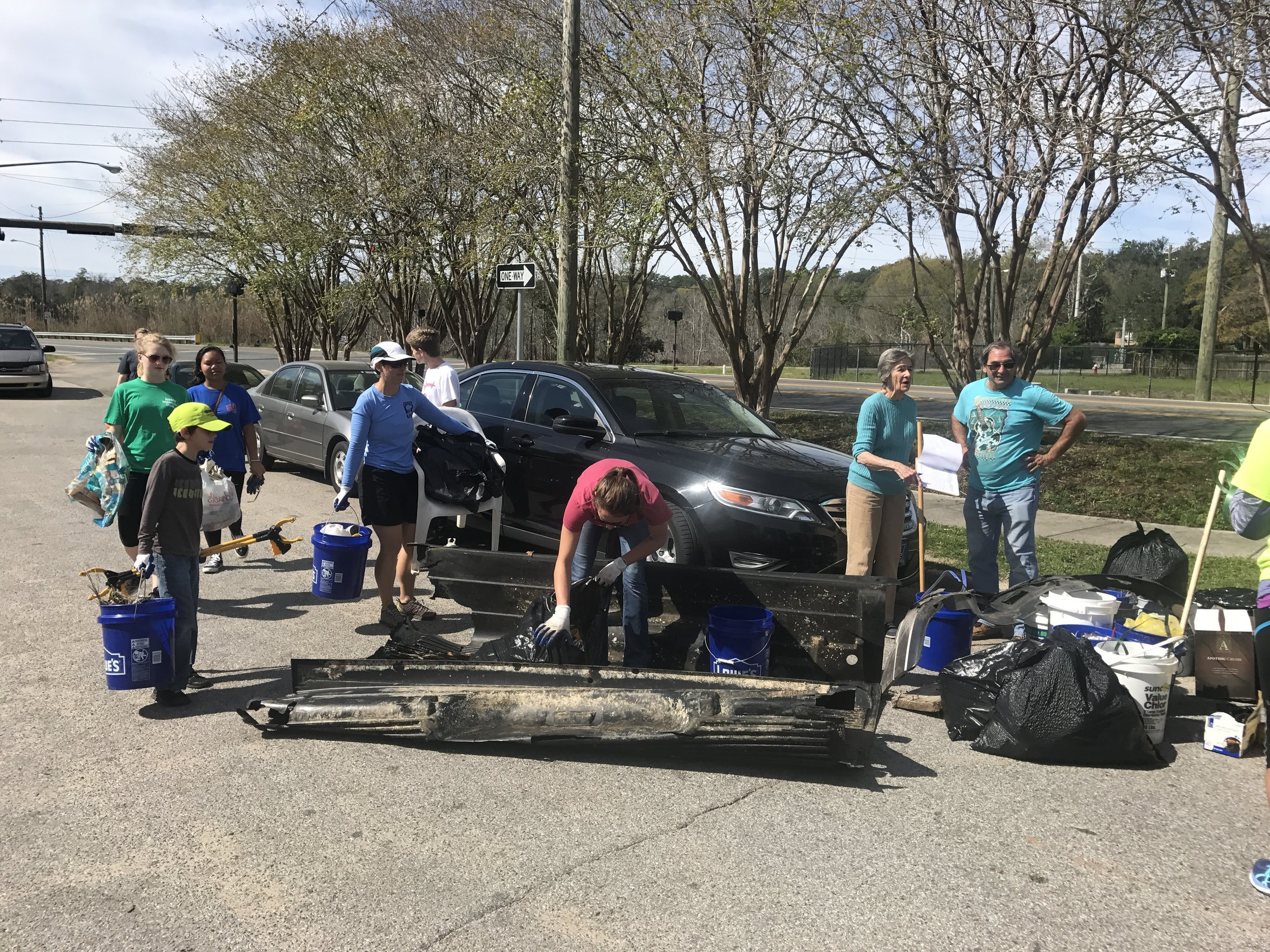 31 volunteers (thanks West Florida High Honor Society) picked up 11 trash bags of bottles and styrofoam. Also a pickup bed liner and a front bumper off a car.