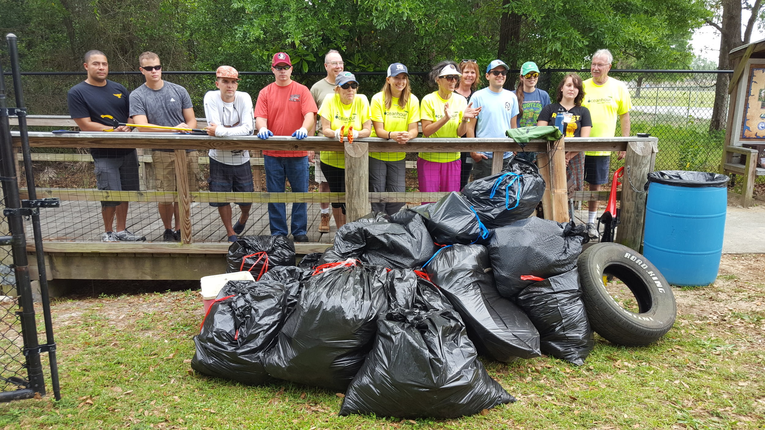 599 lbs of trash was picked up by 70 volunteers including Navy personnel