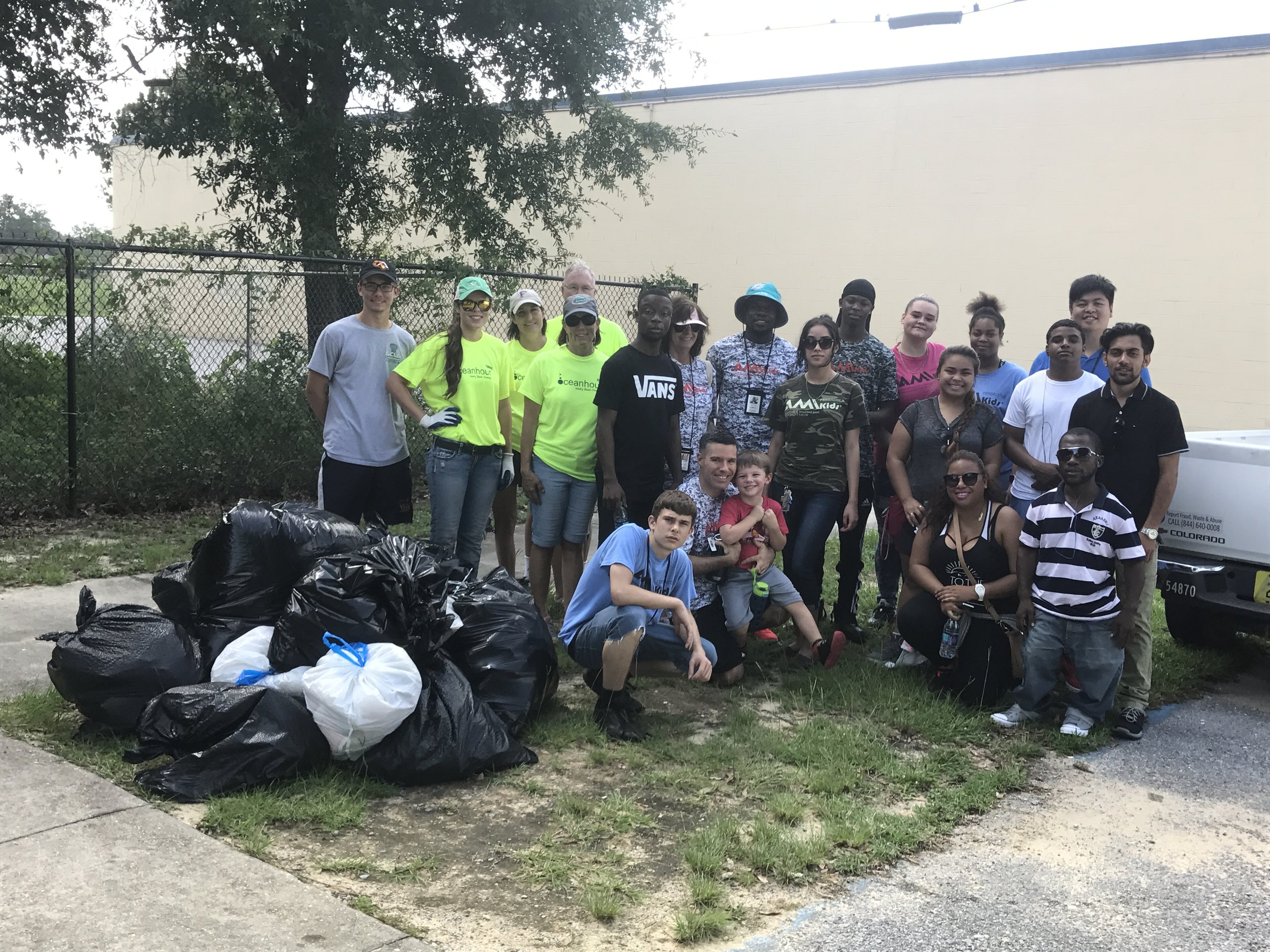 """Volunteers from """"Gulf Coast Citizen Diplomacy Council"""" and """"AMI Kids Pensacola"""" assisted in picking up 147 lbs of trash. This brings 2017 lbs to date of 4,530 lbs. For all of 2016 - 5,412 lbs"""