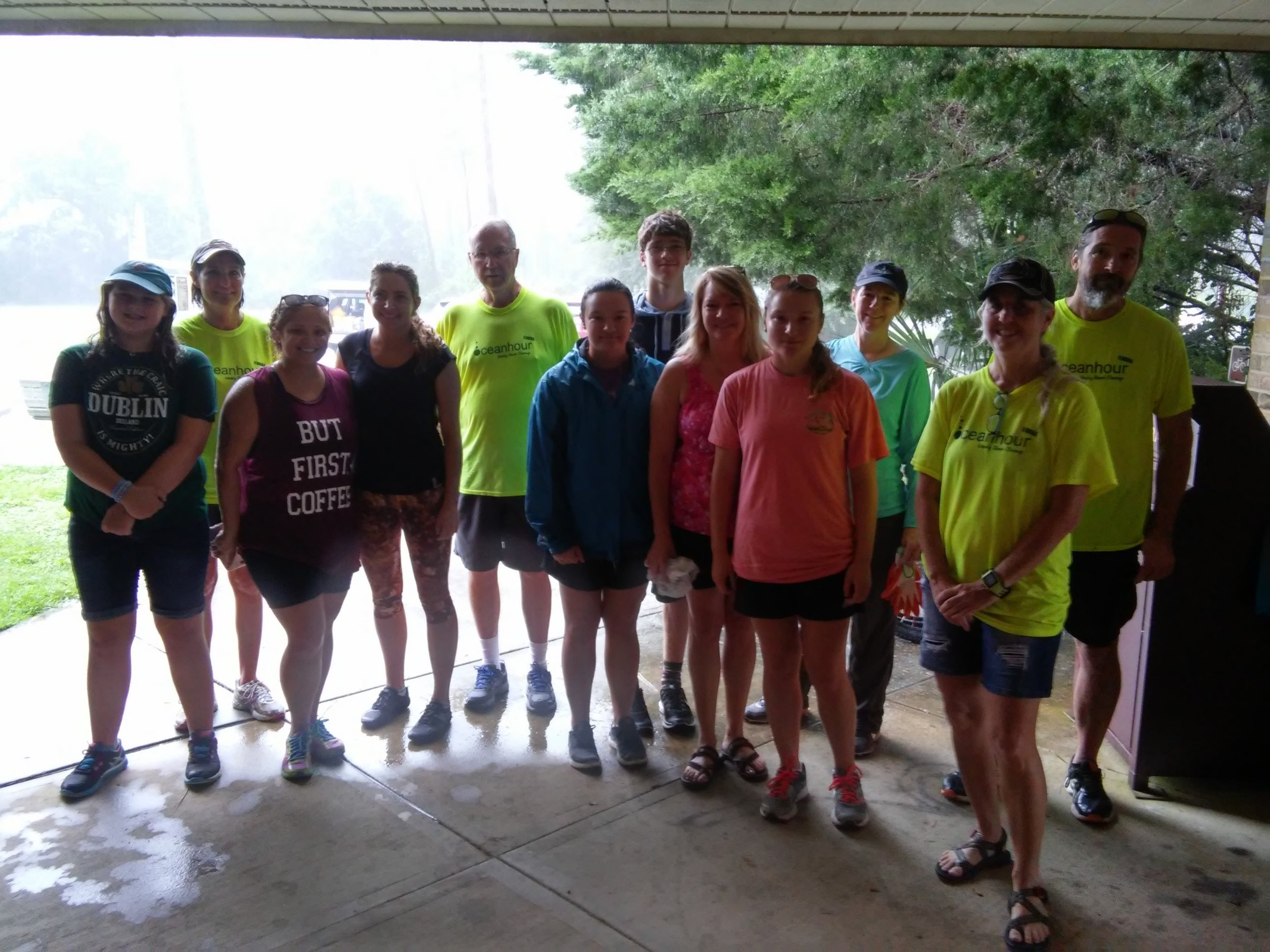 18 volunteers missed most of the rain at Naval Live Oaks and foot of Bob Sikes bridge to pick up 104 lbs of trash