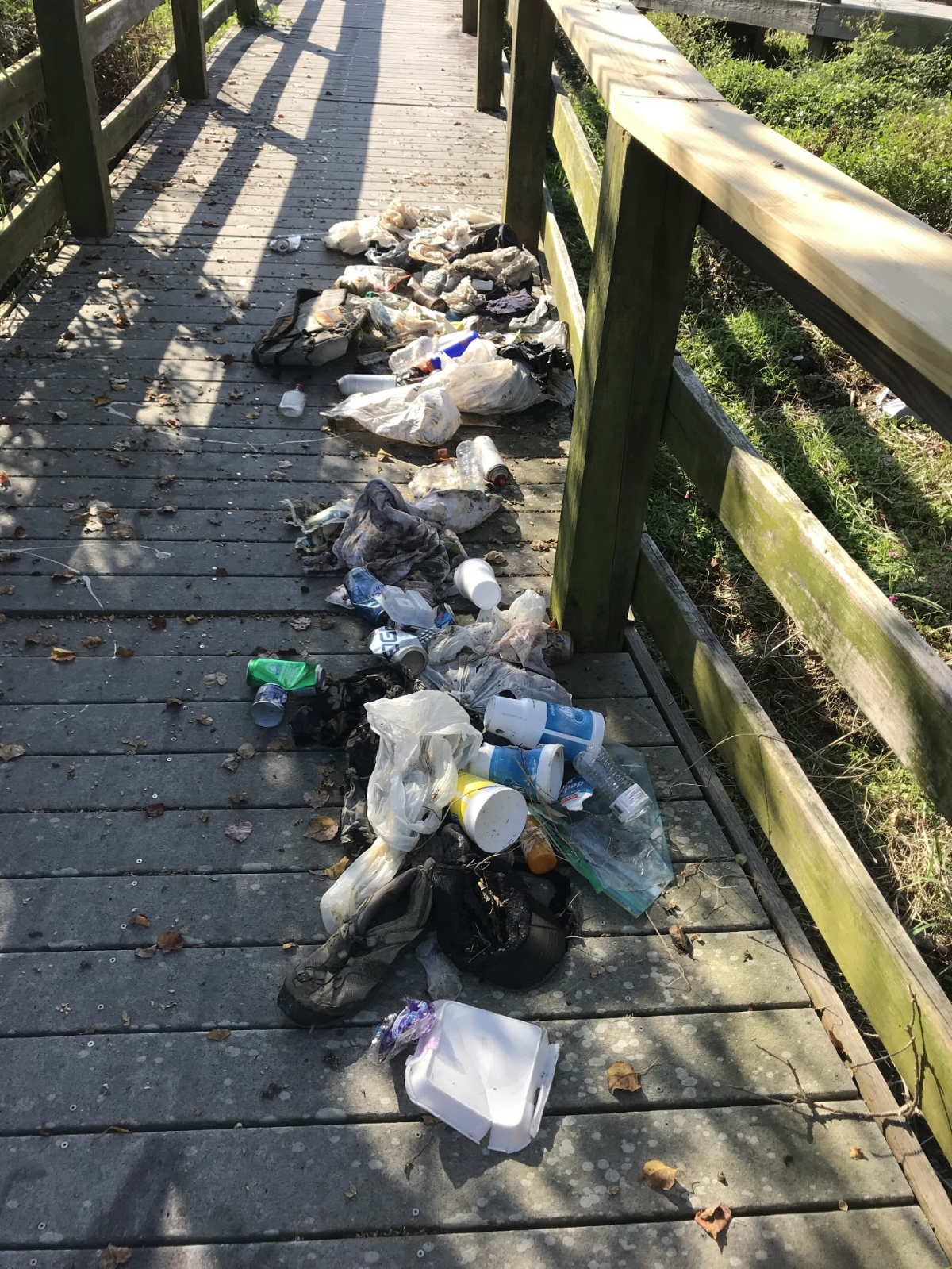 - Trash from ~16' along the boardwalk at the Graffiti Bridge stormwater pond. At least this mess won't end up in Bayou Texar!