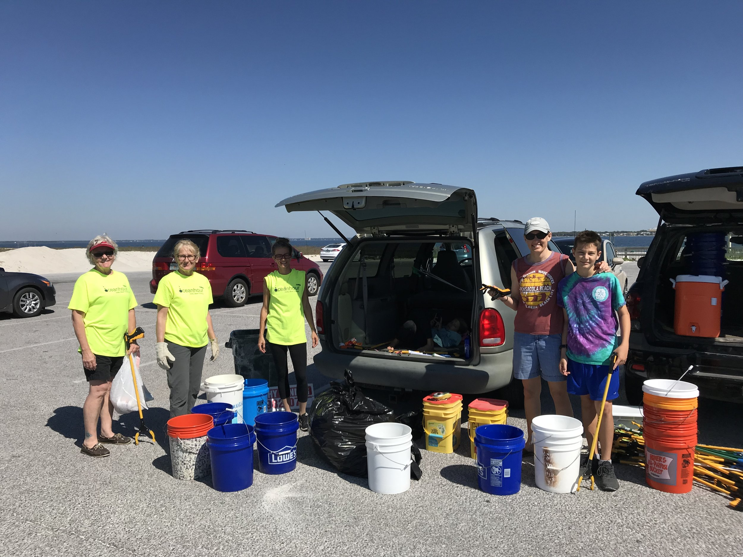 - 42 volunteers collected 444 water bottle caps, preserved wood and ~200' of copper wire.In April, 1,555 lbs of trash picked up from our beaches. Year total to date is 5,868 lbs