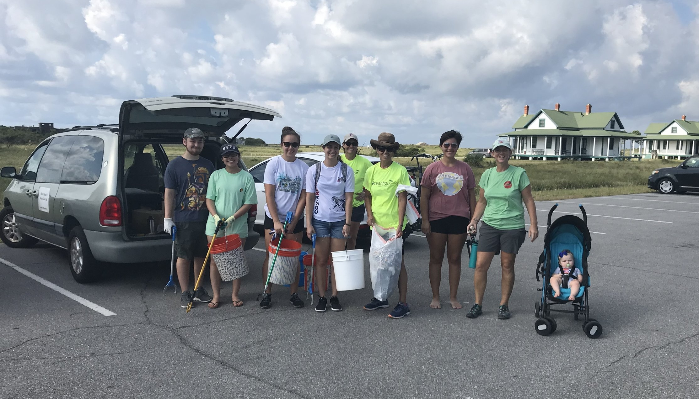 - UWF 's Pre-Physicians Assistants and GBHS Science Club joined in collecting 130 lbs of plastic and styrofoam by 64 volunteers - 971 straws at Quietwater Beach AFTER the beach sieve drove over!!