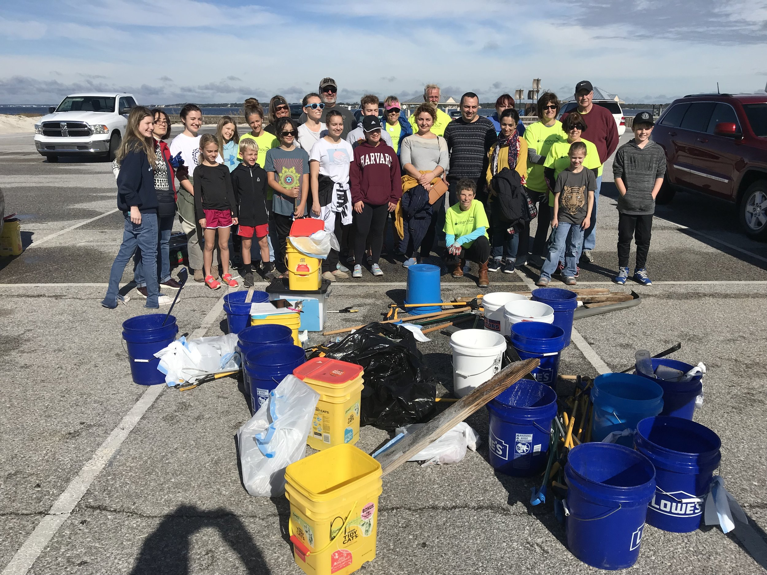 """- One volunteer took 3,378 steps over the hour cleanup. Thanks to the volunteers from the """"Gulf Coast Citizenry Diplomacy Council"""" for helping out - collected 92 lbs by 31 people.After editing excel spreadsheet Ocean Hour FL has collected 15,314 lbs of debris!"""