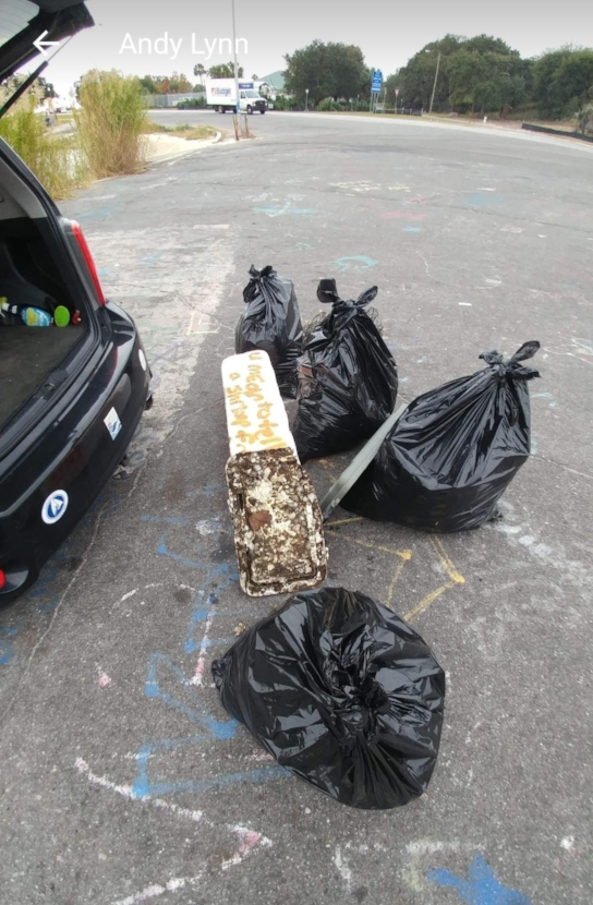 - Another 142 lbs picked up at Hobo Beach. The total for November was 1,678 lbs of trash taken off our beaches!