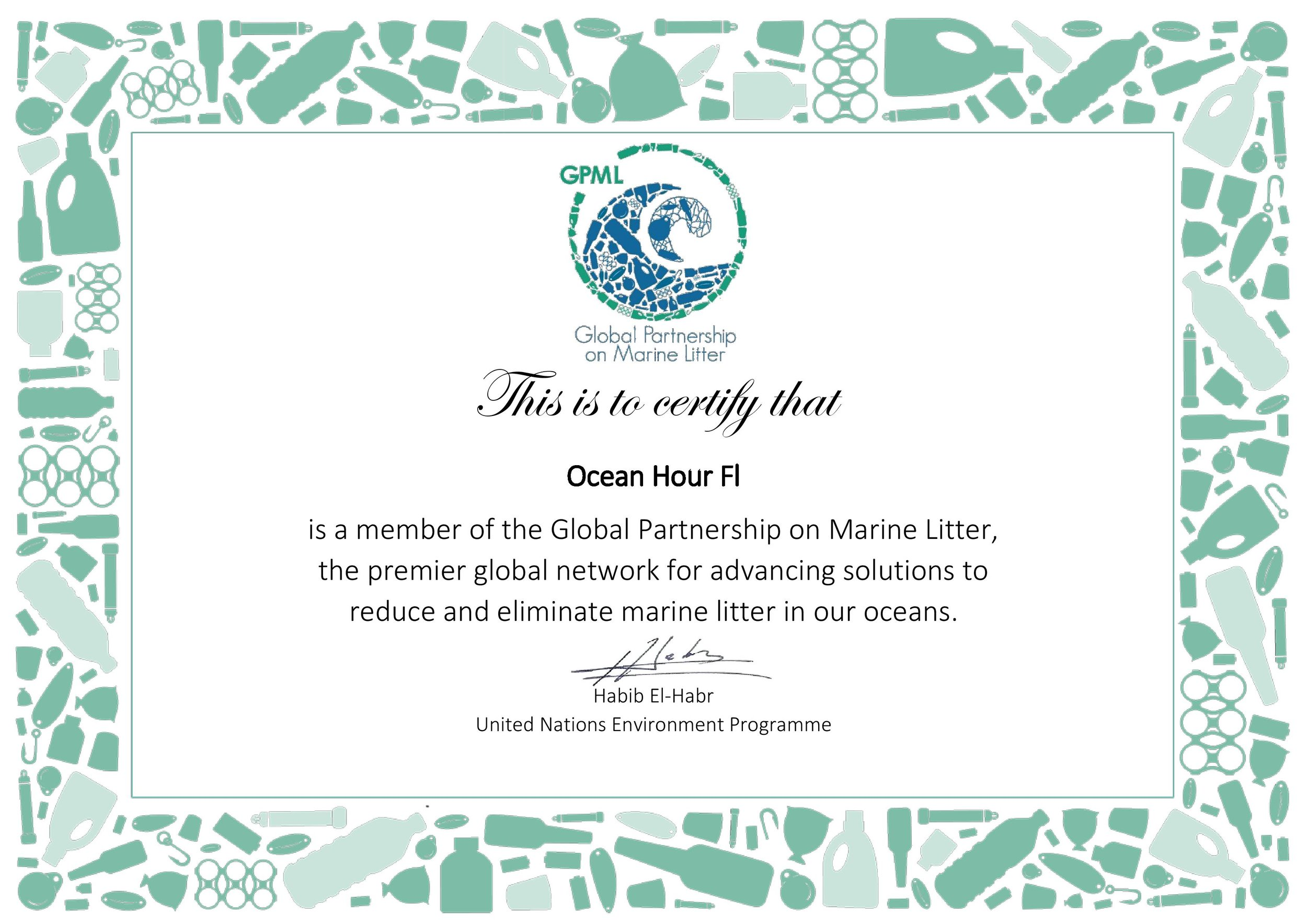 """Global Partnership on Marine Litter"" - sponsored by the United Nations Environment Programme"