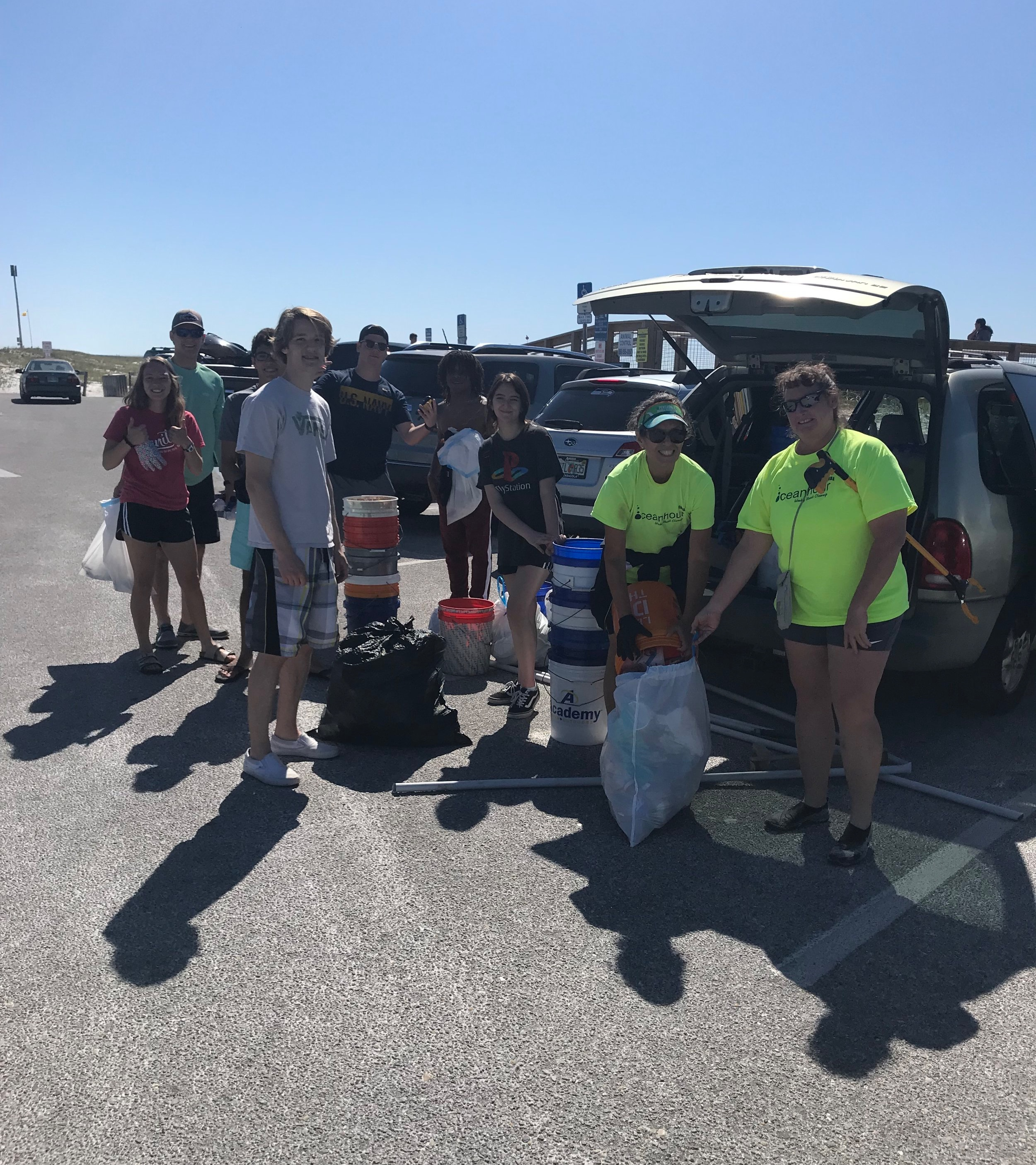 - the east end of Pensacola Beach. 53 volunteers picked up 313 lbs of trash at Park East and the Dog Park. Included a water heater!Brings the month's total to 1,857 lbs. So far this year each month's totals have been higher than 2018.