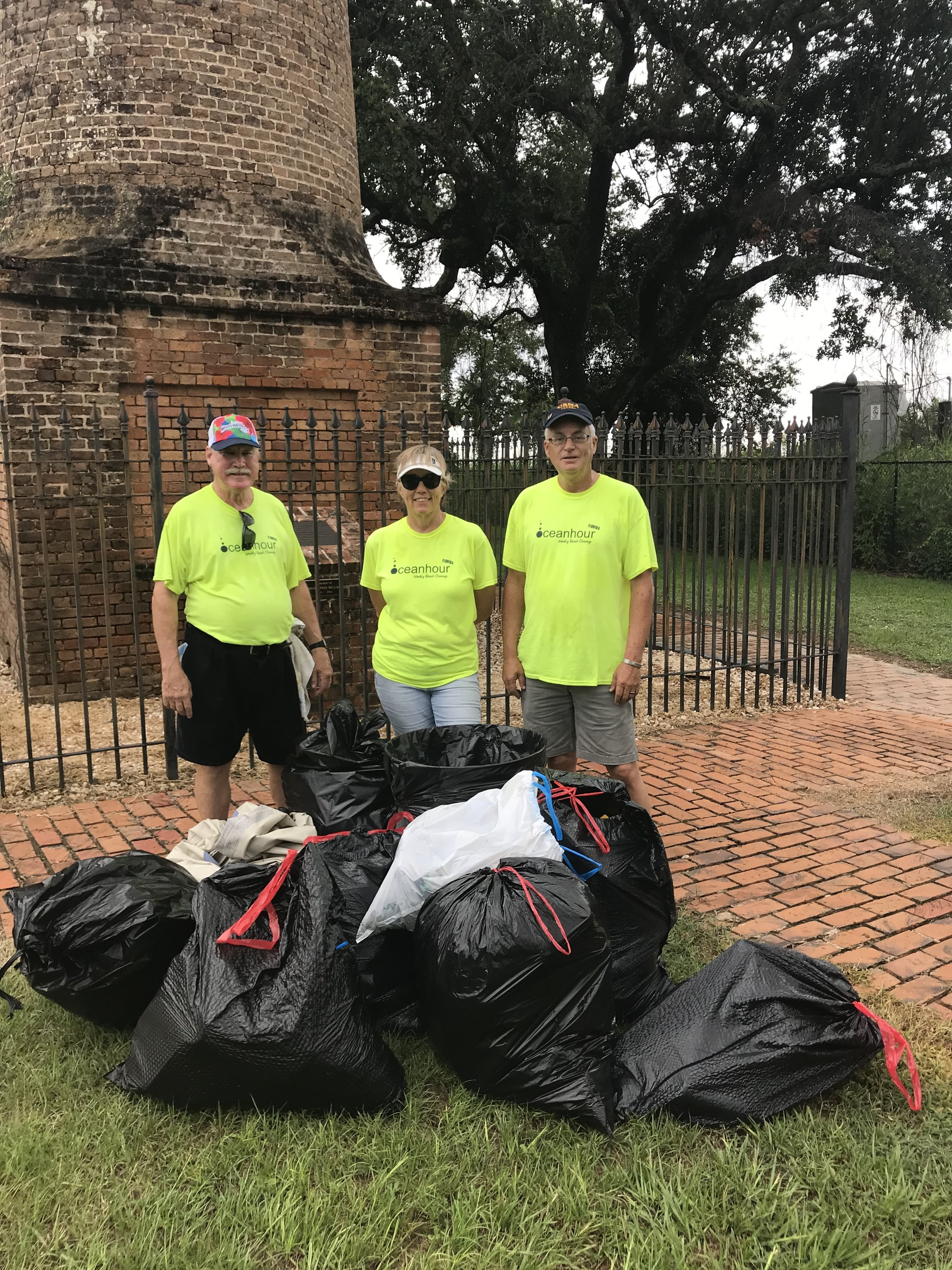- 34 volunteers picked up 299 lbs of trash at two Scenic Hwy parks.The humidity and mosquitos were challenging!
