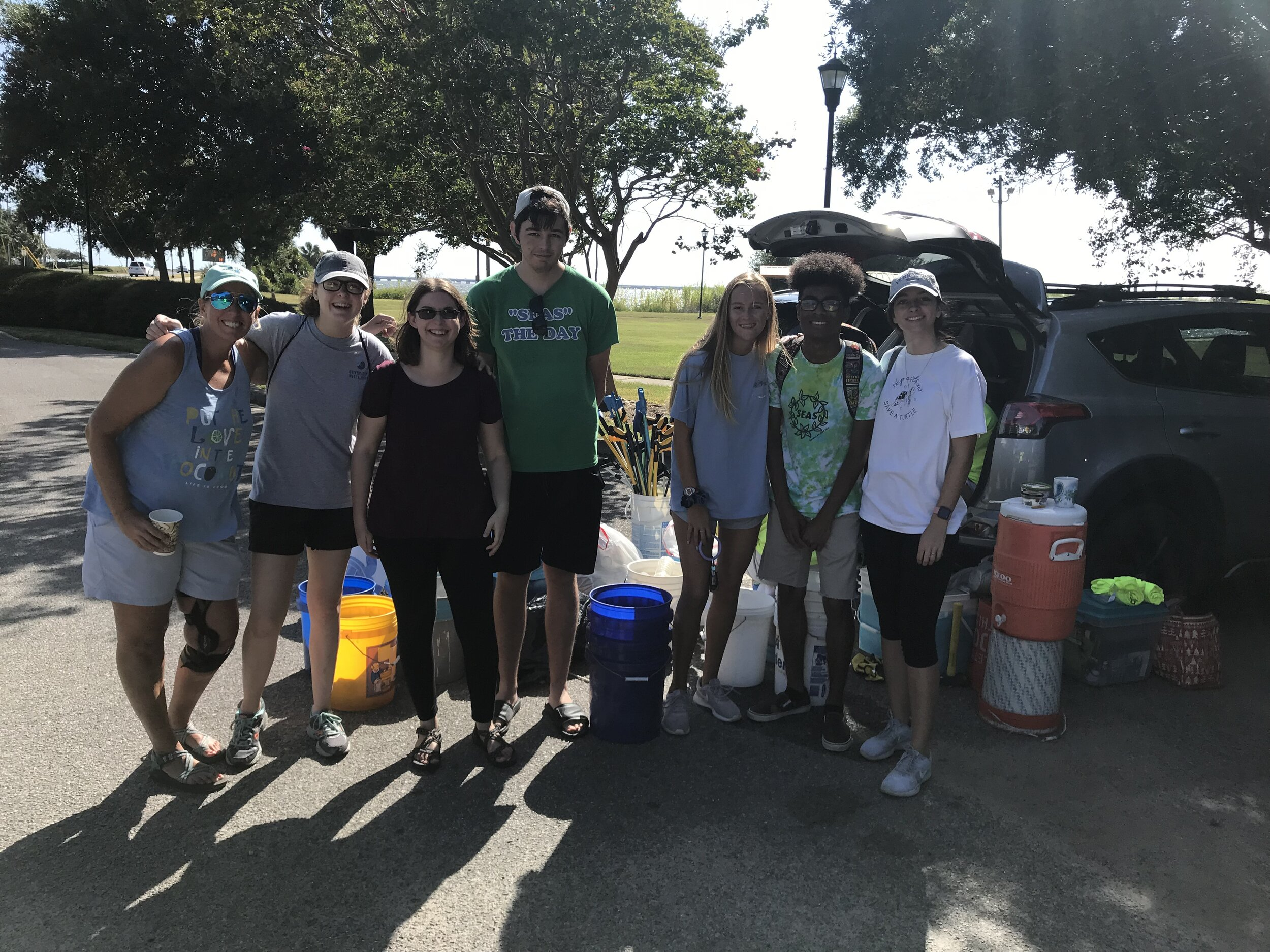 """- Members of UWF's Student Environmental Action Society helped to pick up 75 lbs of trash at Bartram park. A further 550 lbs was collected at Wayside Park/Graffiti Bridge by 83 volunteersEach week has unique items - last week was 20+ Pensacola News Journal newspaper plastic wrappers along Scenic Hwy. This week it was 12 """"airplane"""" size bottles of alcohol along a short stretch of Bayfront Pkwy!"""