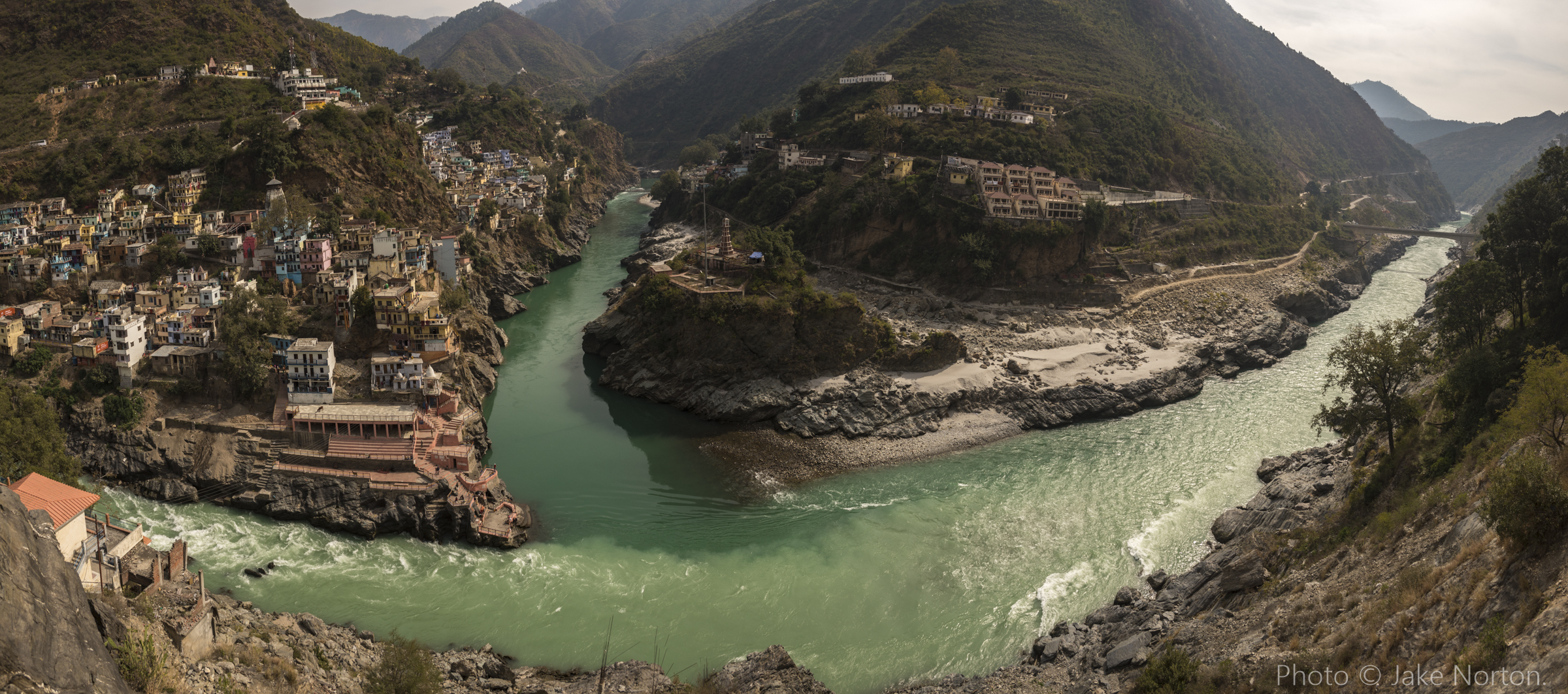 The sacred confluence of Devprayag, where the Bhagirathi and Alaknanda Rivers converge to form the Ganges proper. Photo © Jake Norton.