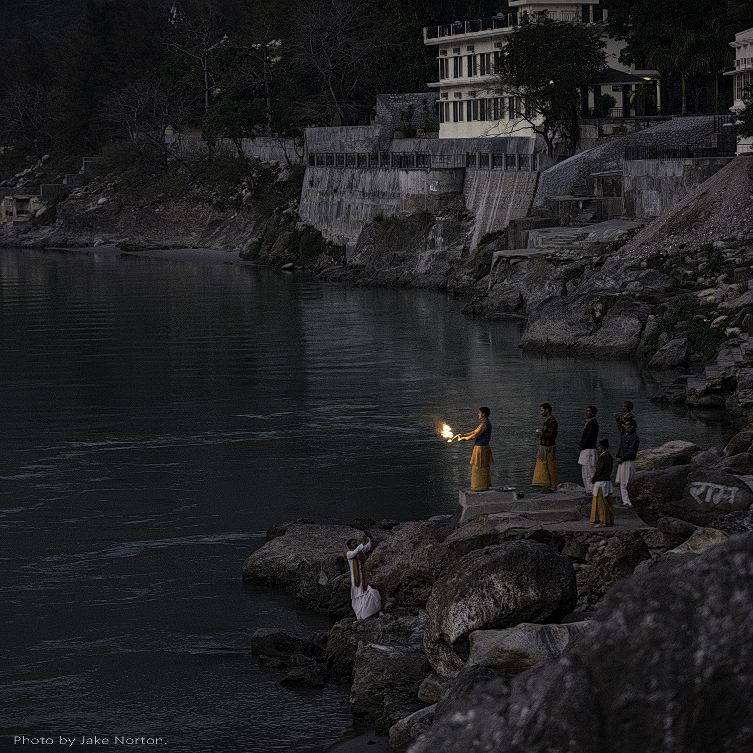 The faithful perform Ganga aarti along the banks of the Ganges River at Rishikesh, Uttarakhand, India.