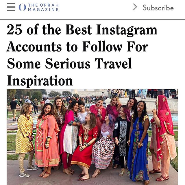 "I AM SO PROUD OF MY AMAZING GIRLFRIENDS!!!!!! Follow for the magic and beauty of the whole wide world 🌍 🌎 🗺 💫 💫 💫  @atwbeauty @julieknailsnyc @worldsofwander  Thanks Oprah @oprahmagazine for including me in your round-up of 25 of the best accounts to follow for some serious travel inspiration. ✈️💋❤️ Plus for using a picture that brings my whole life purpose to existence to your audience. An image that reflects a dream to have women from around the world travel to one of my favorite places "" India"" dressed up, with bright colors, pure love radiating and reflecting the vibrancy that India is to me. Forgetting the things that make us different but the beauty that unites us all. 💫❤️✨❤️💫 I remember crying at this exact moment saying holy shit!!! I actually did it. Of course not with out the help of my dear friends at @spiritualvacation108 and all the women my fellow artists and visionaries that said yes to travel across the world with my travel start-up ( @atwbeauty ). Look guys we're all on Oprah together 💫✨ Thank you to #CeliaFernandez  @its_celiafernandez for including me and PR guru @danialvarezpr @thebonitaproject for finding it lol PLUS  my global beauty tribe also included in the piece ❤️💋 bestie @julieknailsnyc and soul sister from day 1 @worldsofwander 🗺💋✈️ Shoutout to our journey to beauty and being featured. We hope this exposure draws even more powerful women to our mission and hopefully our beauty adventures abroad ✈️❤️ And now we're officially closer to Oprah lol and maybe a tv show on own ( manifesting hard)"