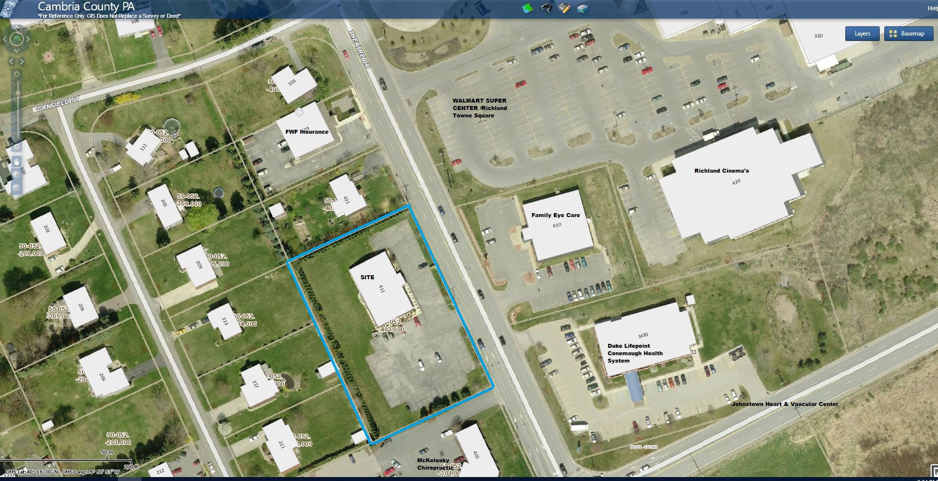 411 Theatre Drive Aerial Tax Map - Click to enlarge
