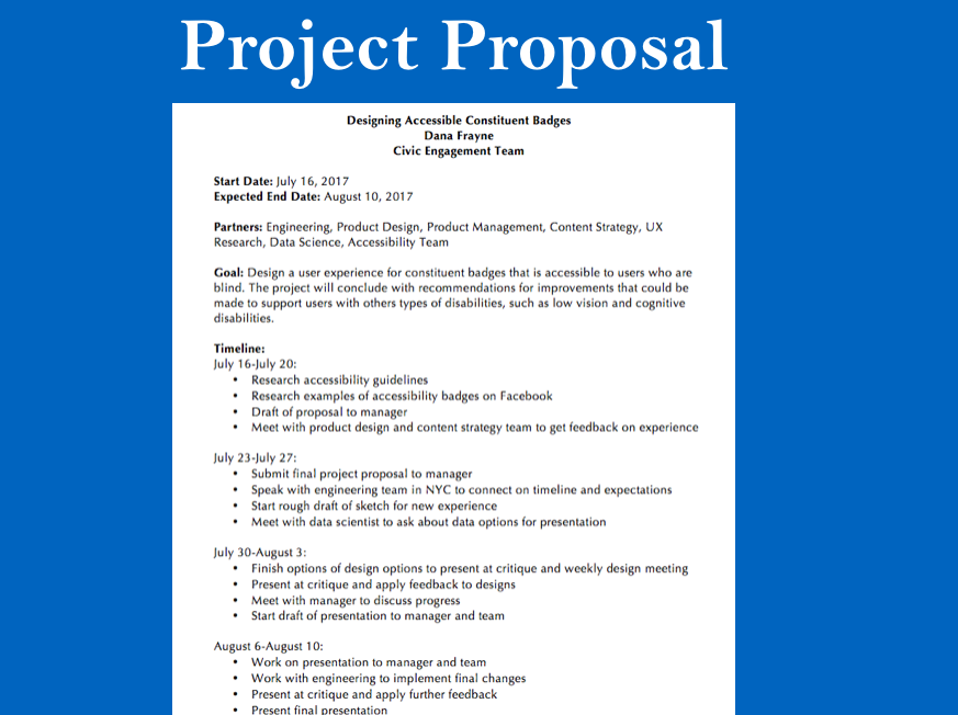 The proposal that I wrote and submitted to my manager