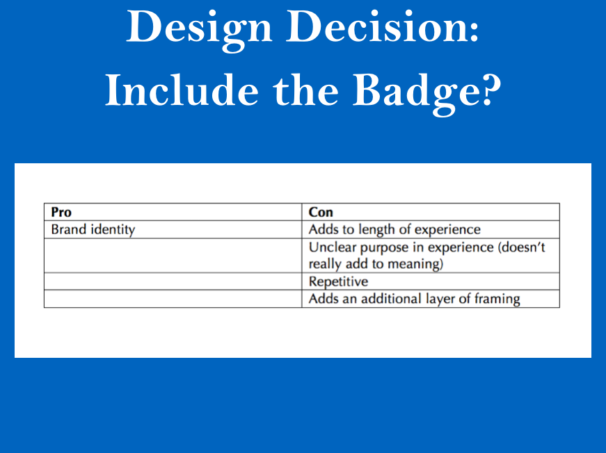 """Mapping out the pros and cons of whether the word """"badge"""" should be included in the screen reader text"""