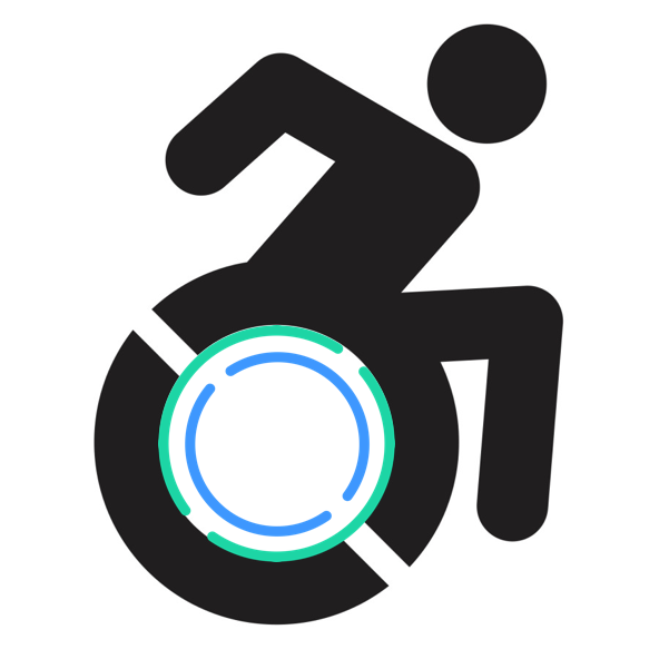 Image Description: The accessible icon in black with a green and blue icon in the lower half of the icon.