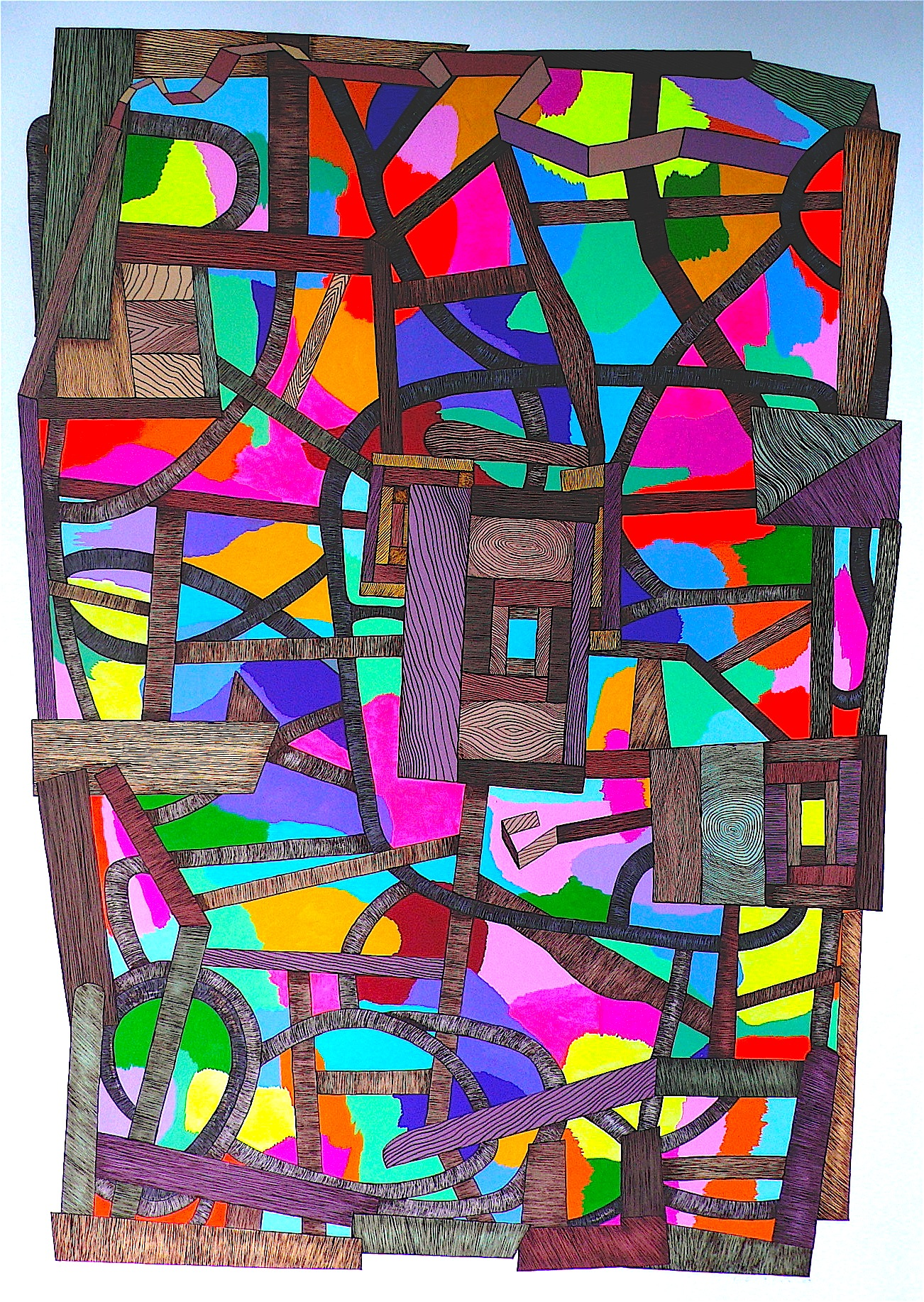 """Aurora Borealis 2009 gouache and flashe on paper 41"""" x 30"""""""
