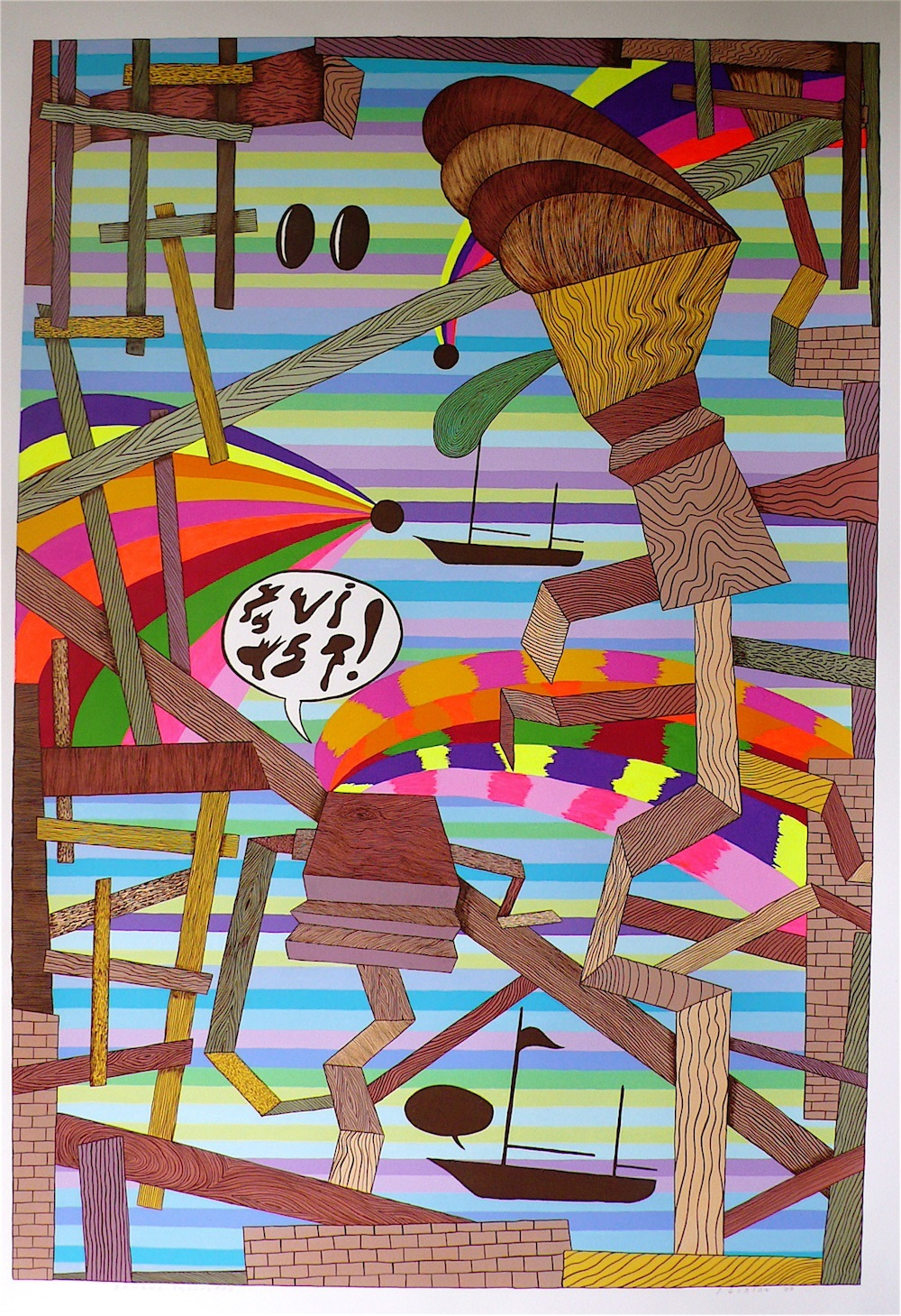 """Bahama Encounter 2009 gouache and flashe on paper 41"""" x 30"""""""