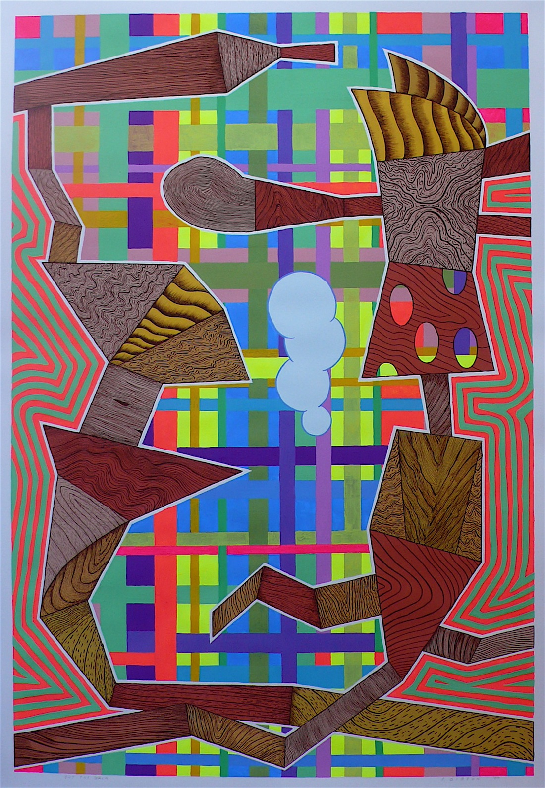 """Out The Back 2009 gouache and flashe on paper  41"""" x 30"""""""