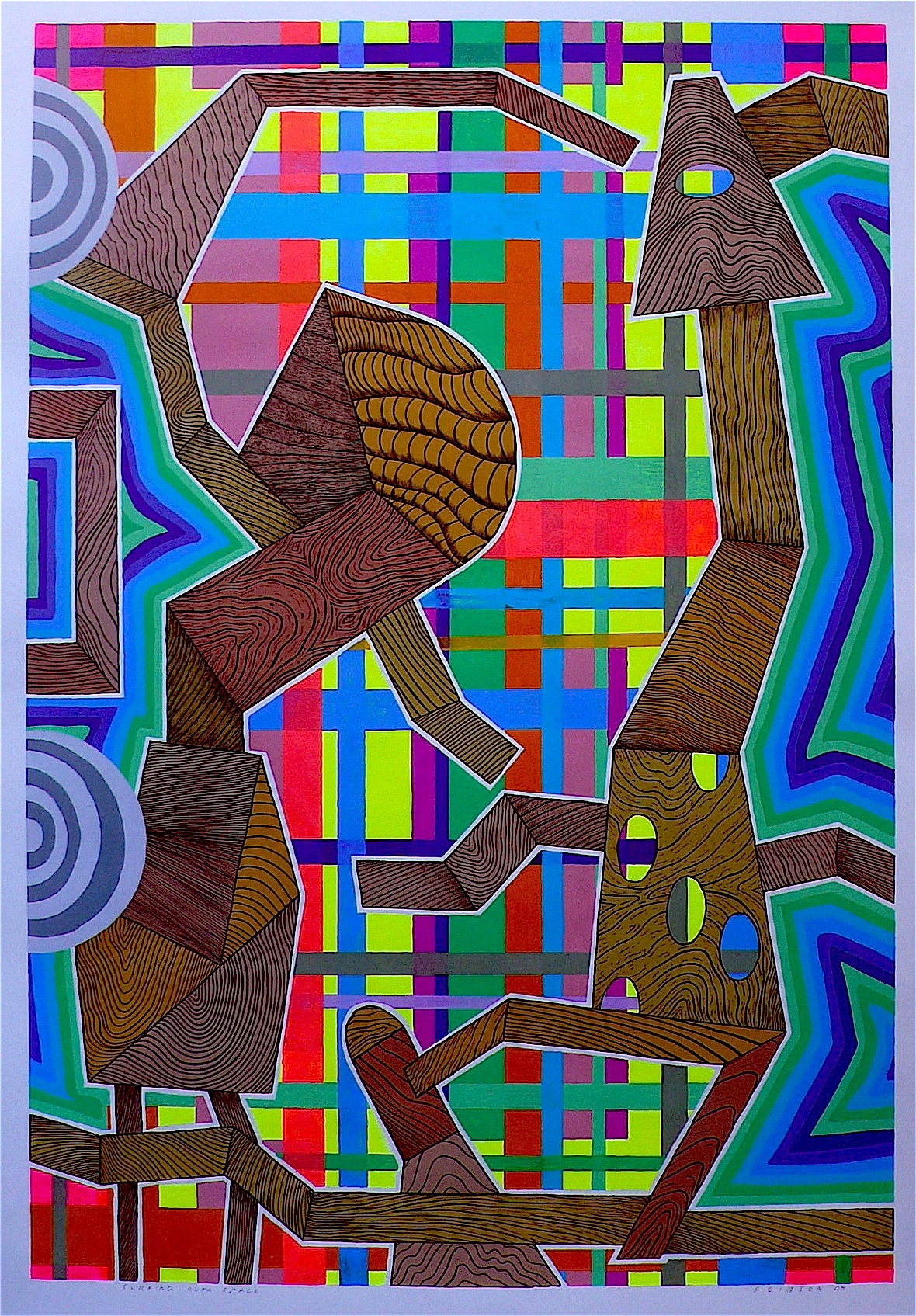 """Surfing Outa Space 2009 gouache and flashe on paper 41"""" x 30"""""""