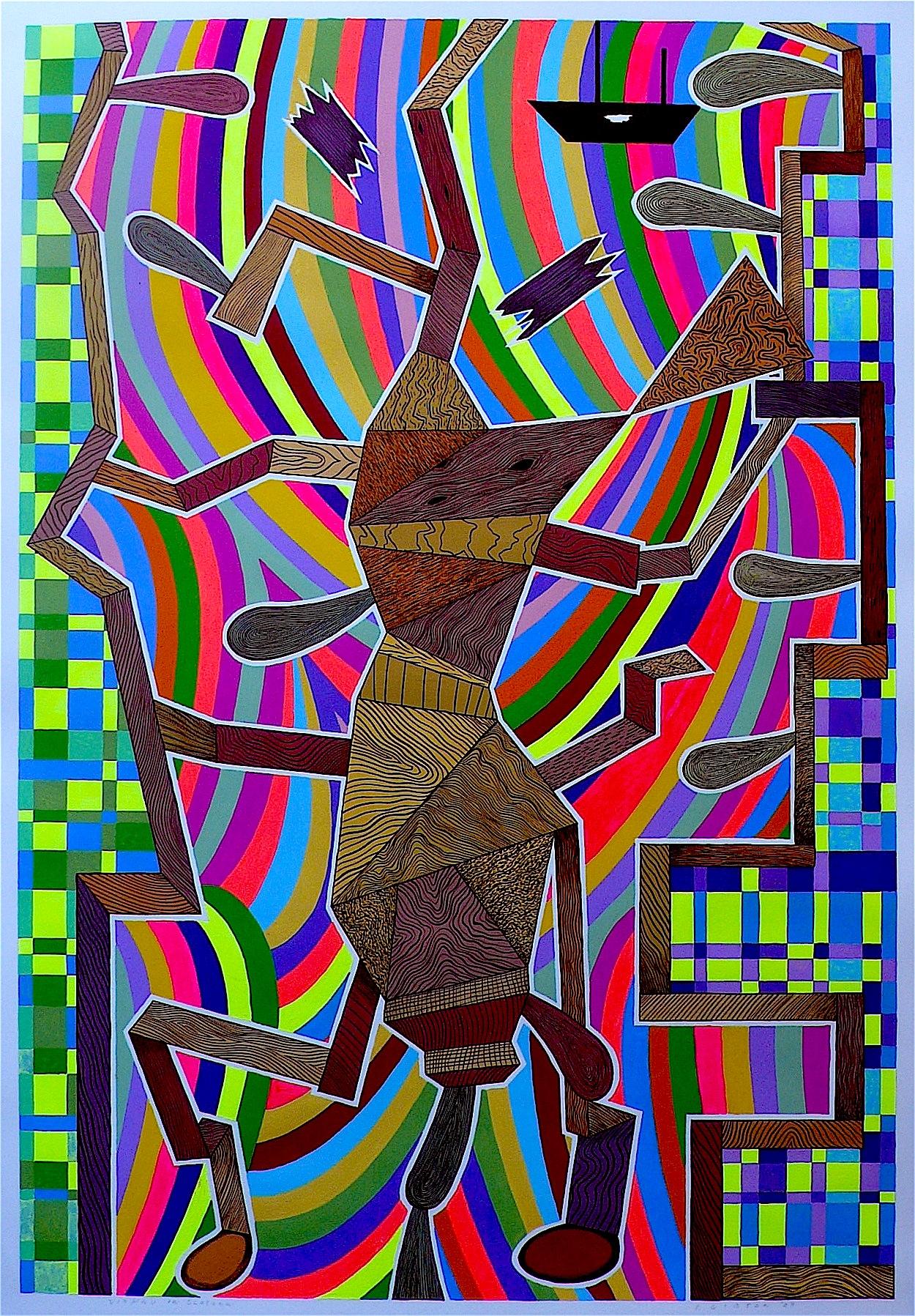 """Vishnu In Glasgow 2009 gouache and flashe on paper 41"""" x 30"""""""