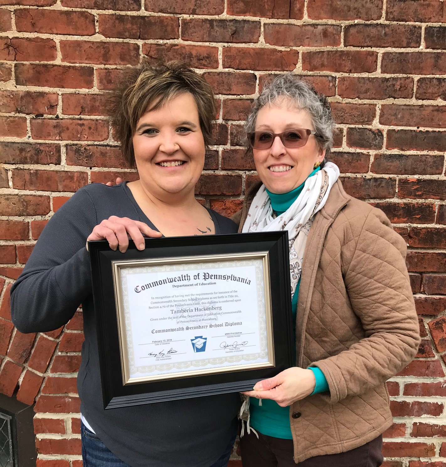 2019 GED graduate Tammy Hackenberg and Dawn Beaver, PCLC's GED Instructor and Student Tutor Coordinator.