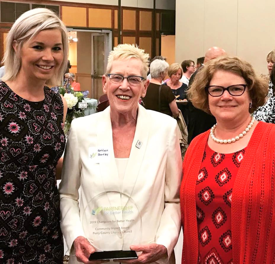 PCLC received the Community Impact Award from the Partnership for Better Health. Pictured are Morgan Tressler, Kathleen Bentley and Patti McLaughlin at the awards ceremony at Dickinson College.