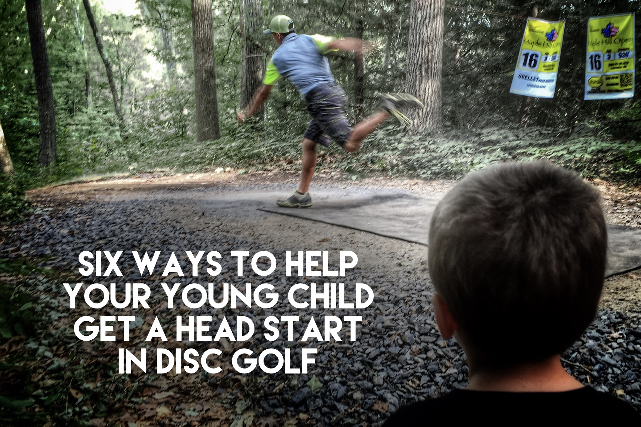 Hunter, at 5 years, old was watching the worlds best disc golf athletes compete.