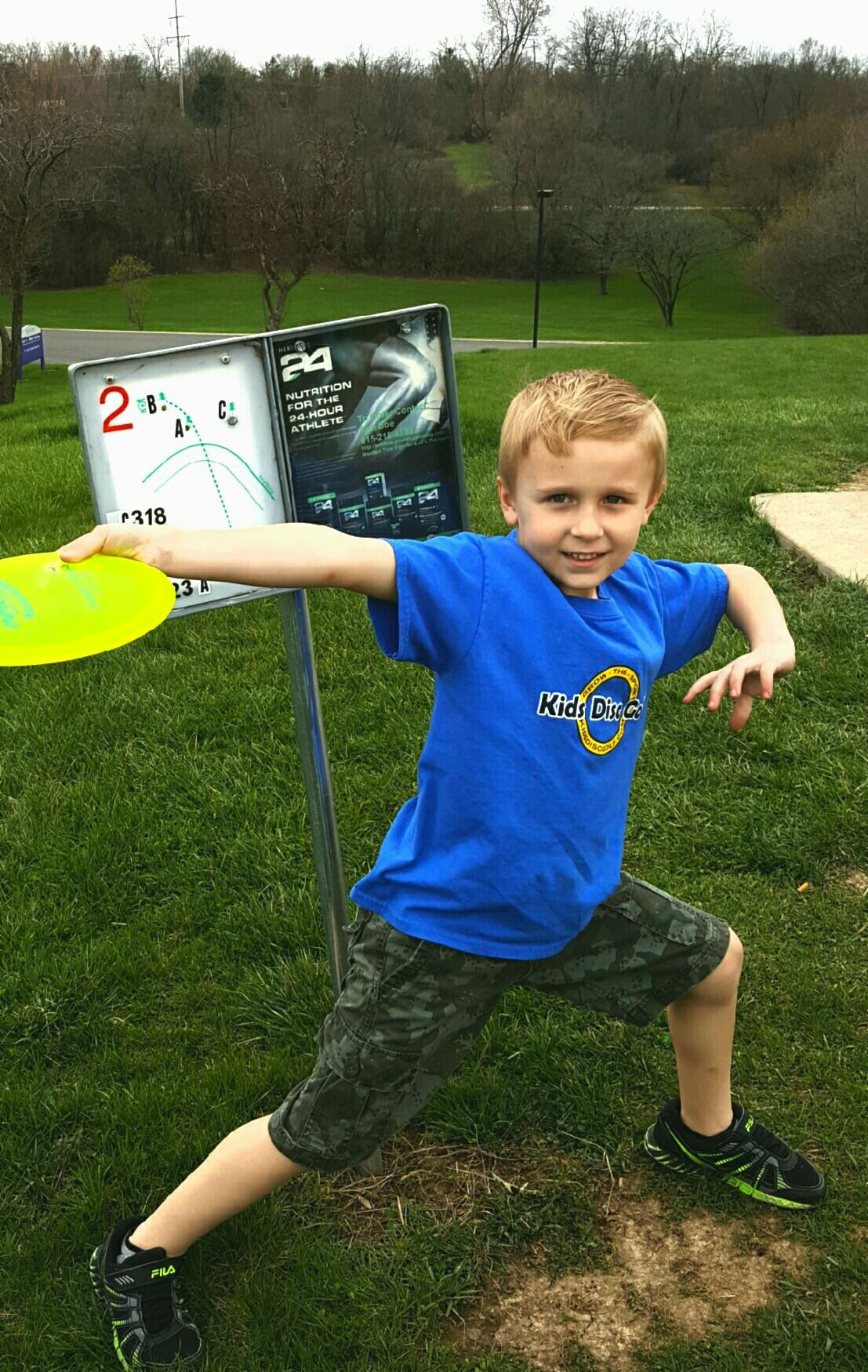 Parker wearing the shirt we sent him! He's now 6 years old and enjoying the sport once again!