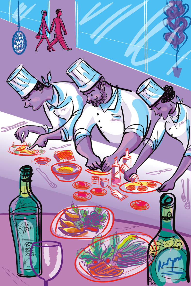 this is one of the 12 illustration panels I created for the project... which depicts several chefs intently working in a neighborhood restaurant.