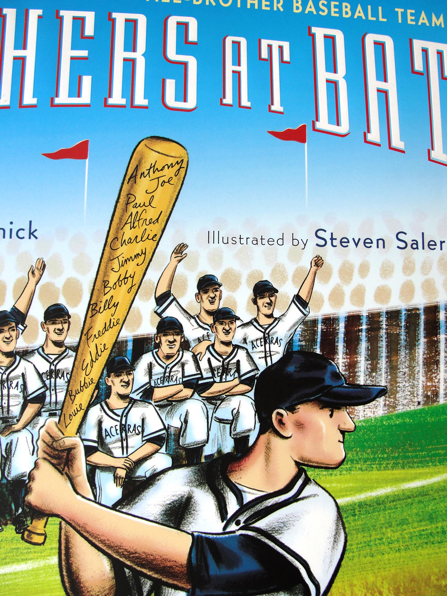 cropped view of cover for   Brothers at Bat    - written by Audrey Vernick & illustrated by  Steven Salerno  (2012, Houghton Mifflin Harcourt)