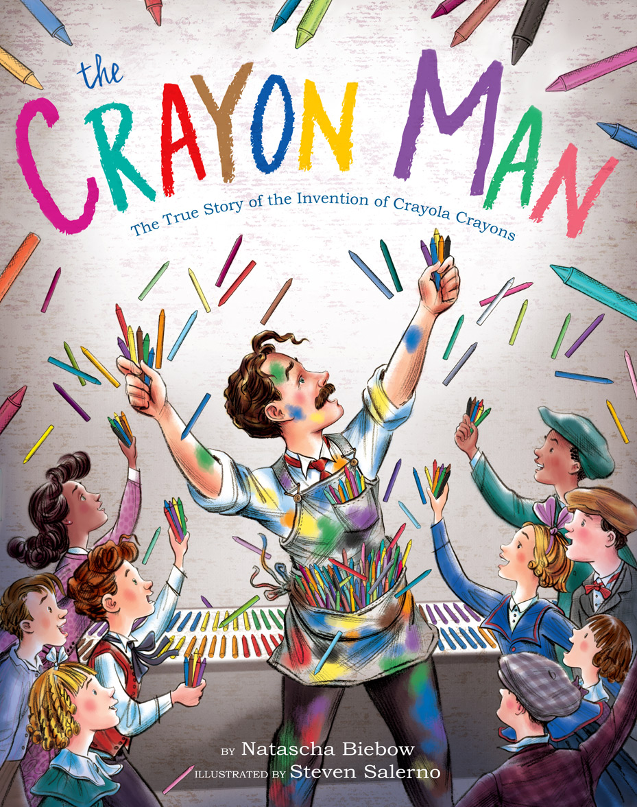 cover  of the upcoming picture book,  The Crayon Man - written by Natascha Biebow & illustrated by  Steven Salerno , to be released by Houghton Mifflin Harcourt in March 2019