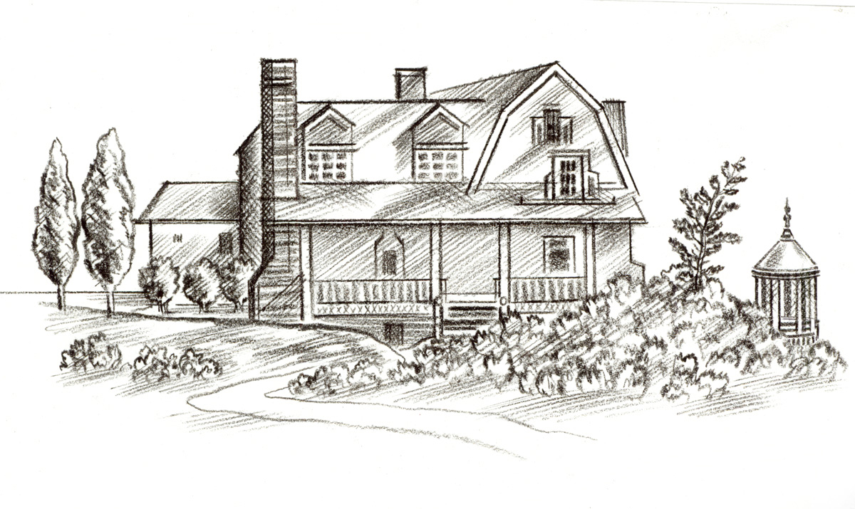 above  is a close up view of the  charcoal & crayon drawing  of Edwin and Alice's lovely home on the bluff overlooking the sea