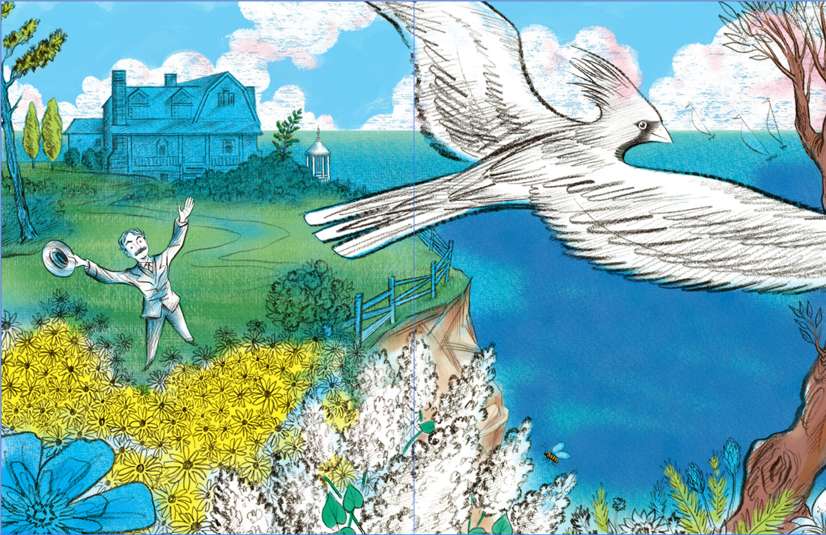 above  is the next stage where  additional colors  are added digitally… in the flowers, trees, deeper tones in the water, and more color definition in the clouds