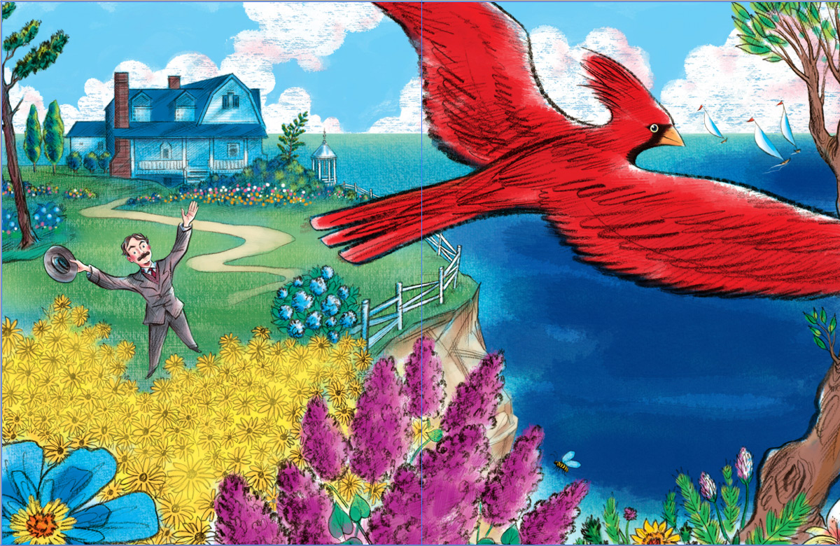 above  is the next stage where continuing  additional colors define the foreground  flowers, the red Cardinal, more definition to the house, background flowers, etc…